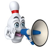 3D cartoon bowling pin with a megaphone. Cartoon illustration of a bowling pin shouting through a megaphone Stock Photography