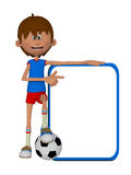 3d cartoon boy with football ball and blank board. Isolated on the white background Royalty Free Stock Image