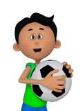 3d cartoon boy with football ball Royalty Free Stock Photography