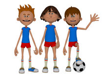 3d cartoon boys, football team. Isolated on the white background Royalty Free Stock Images