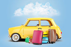 3d cartoon car and luggage. Travel concept Royalty Free Stock Photography
