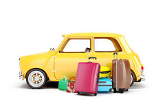 3d cartoon car and luggage. Travel concept Royalty Free Stock Photos