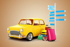 3d cartoon car and luggage. Travel concept Royalty Free Stock Images