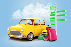 3d cartoon car and luggage. Travel concept Stock Photography