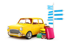 3d cartoon car and luggage. Travel concept Royalty Free Stock Photo