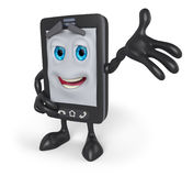 3D cartoon cell phone with arm raised. 3d rendering of a cheerful cartoon cell phone with out stretched arm Stock Images