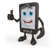 3D cartoon cell phone with thumbs up Stock Photos