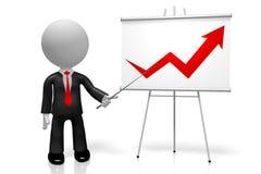 3D businessman, upwards arrow - success concept. 3D cartoon character/ businessman, upwards arrow - great for topics like success etc Stock Photos