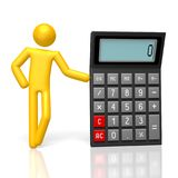 3D calculator. 3D cartoon character, calculator - great for topics like business, finance etc Royalty Free Stock Photos