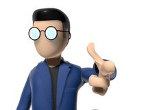 3D Cartoon character in a cool posture. Character with arms outstretched on a white backgroud with glasses dark hairs. Neutral face without nose and mouth Stock Images