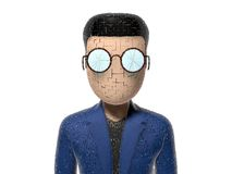 3D Cartoon character cracked. Character with arms outstretched on a white backgroud with glasses dark hairs. Neutral face without nose and mouth. Face cracked Royalty Free Stock Photos