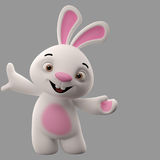 3D cartoon character, easter bunny. Amazing 3D easter bunny, merry cartoon rabbit, animal character isolated Stock Photography
