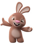 3D cartoon character, easter bunny. Amazing 3D easter bunny, merry cartoon rabbit, animal character isolated on white background royalty free illustration