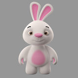 3D cartoon character, easter bunny. Amazing 3D easter bunny, merry cartoon rabbit, animal character isolated on white background Royalty Free Stock Photo