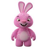 3D cartoon character, easter bunny. Amazing 3D easter bunny, merry cartoon rabbit, animal character isolated on white background Royalty Free Stock Photography
