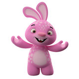 3D cartoon character, easter bunny. Amazing 3D easter bunny, merry cartoon rabbit, animal character isolated on white background Stock Photo