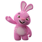 3D cartoon character, easter bunny. Amazing 3D easter bunny, merry cartoon rabbit, animal character isolated on white background Royalty Free Stock Images