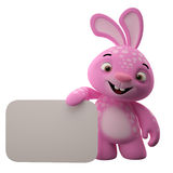 3D cartoon character, easter bunny. Amazing 3D easter bunny, merry cartoon rabbit, animal character isolated on white background Stock Photos