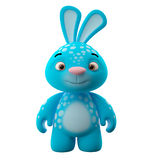 3D cartoon character, easter bunny. Amazing 3D easter bunny, merry cartoon rabbit, animal character  on white background Royalty Free Stock Images
