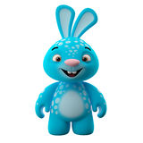 3D cartoon character, easter bunny. Amazing 3D easter bunny, merry cartoon rabbit, animal character  on white background Royalty Free Stock Photo
