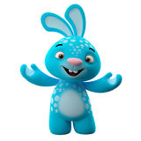3D cartoon character, easter bunny. Amazing 3D easter bunny, merry cartoon rabbit, animal character  on white background Royalty Free Stock Image