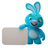 3D cartoon character, easter bunny. Amazing 3D easter bunny, merry cartoon rabbit, animal character  on white background Stock Photography