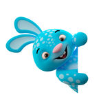 3D cartoon character, easter bunny. Amazing 3D easter bunny, merry cartoon rabbit, animal character  on white background Royalty Free Stock Photography
