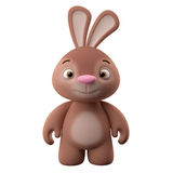 3D cartoon character, easter bunny. Amazing 3D easter bunny, merry cartoon rabbit, animal character on white background stock illustration