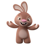 3D cartoon character, easter bunny. Amazing 3D easter bunny, merry cartoon rabbit, animal character  on white background Stock Images