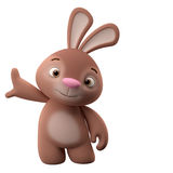 3D cartoon character, easter bunny. Amazing 3D easter bunny, merry cartoon rabbit, animal character  on white background Stock Image