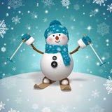 3d cartoon character, funny skiing snowman Stock Photography