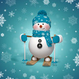 3d cartoon character, funny skiing snowman Royalty Free Stock Image