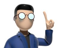 3D Cartoon character having a good idea. Character with arms outstretched on a white backgroud with glasses dark hairs. Neutral face without nose and mouth Stock Photography