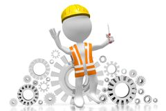 3D worker with a screwdriver Royalty Free Stock Photo