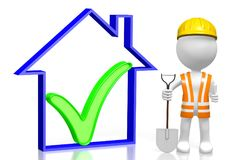 3D worker - house shape. 3D cartoon character holding shovel, house shape - great for topics like construction site, house development etc Stock Photo