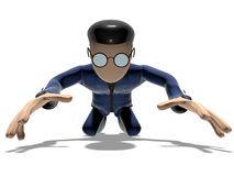 3D Cartoon character prostrate. Character with arms outstretched on a white backgroud with glasses dark hairs. Neutral face without nose and mouth. Prostrate Stock Photo