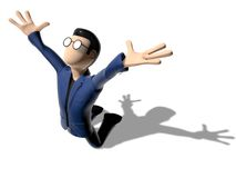 3D Cartoon character prostrate. Character with arms outstretched on a white backgroud with glasses dark hairs. Neutral face without nose and mouth. Prostrate Royalty Free Stock Image