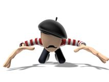 3D Cartoon character prostrate. Character on a white backgroud with dark hairs and dressed like a french guy. He has a pretty mustache and red and whites stripes Royalty Free Stock Image