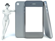 3D cartoon character Techy with a touchscreen smartphone Royalty Free Stock Photos