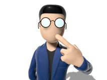 3D Cartoon character thinking about something. Character with arms outstretched on a white backgroud with glasses dark hairs. Neutral face without nose and mouth Stock Image