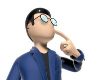 3D Cartoon character thinking about something. Character with arms outstretched on a white backgroud with glasses dark hairs. Neutral face without nose and mouth Royalty Free Stock Images