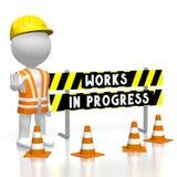 3D works in progress concept. 3D cartoon character/ worker wearing vest, helmet, barricade - works in progress concept Stock Image