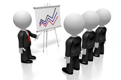 3D businessmen, flip chart - success concept vector illustration