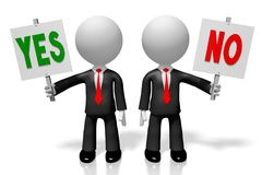 3D yes and no concept. 3D cartoon characters/ businessmen holding signboards - yes or now concept Stock Image
