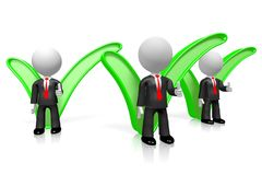 3D businessmen, checkmark/ thick sign royalty free illustration