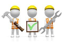 3D workers - checkmark concept Royalty Free Stock Photos