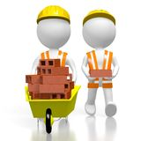 3D workmen with bricks. 3D cartoon characters, wheelbarrow with bricks - great for topics like construction site, house building etc Stock Photos