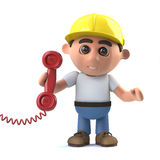 3d Cartoon construction worker answers the phone. 3d render of a cartoon construction worker holding a telephone handset Royalty Free Stock Photos