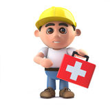 3d Cartoon construction worker with first aid kit. 3d render of a cartoon construcion worker character holding a first aid kit Royalty Free Stock Photography