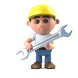 3d Cartoon construction worker holding a spanner Stock Photo